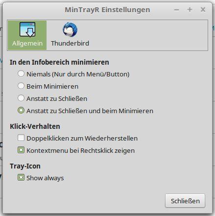 Bild Einstellungen - MinimizeToTray revived (MinTrayR)